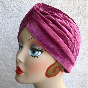 Plum Pink Velvet Pinup Turban cloche hat glamour